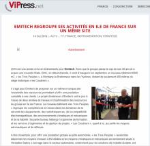VIPress Emitech regroupe ses activités en Ile de France